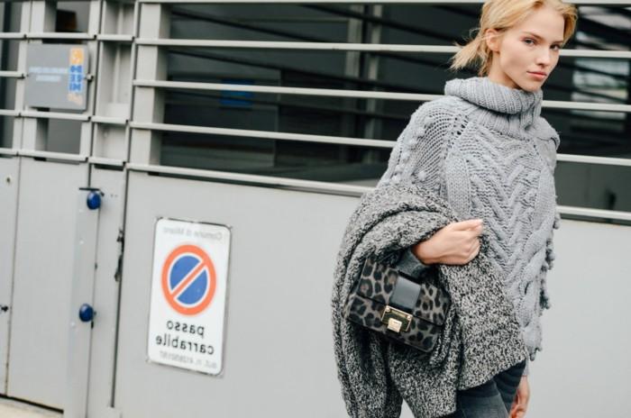 grauer pullover damenmode wintertrends layer look