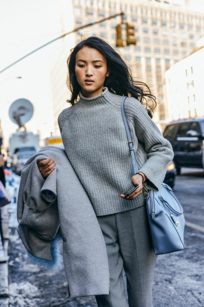 grauer pullover damenmode wintertrends new york style laessig