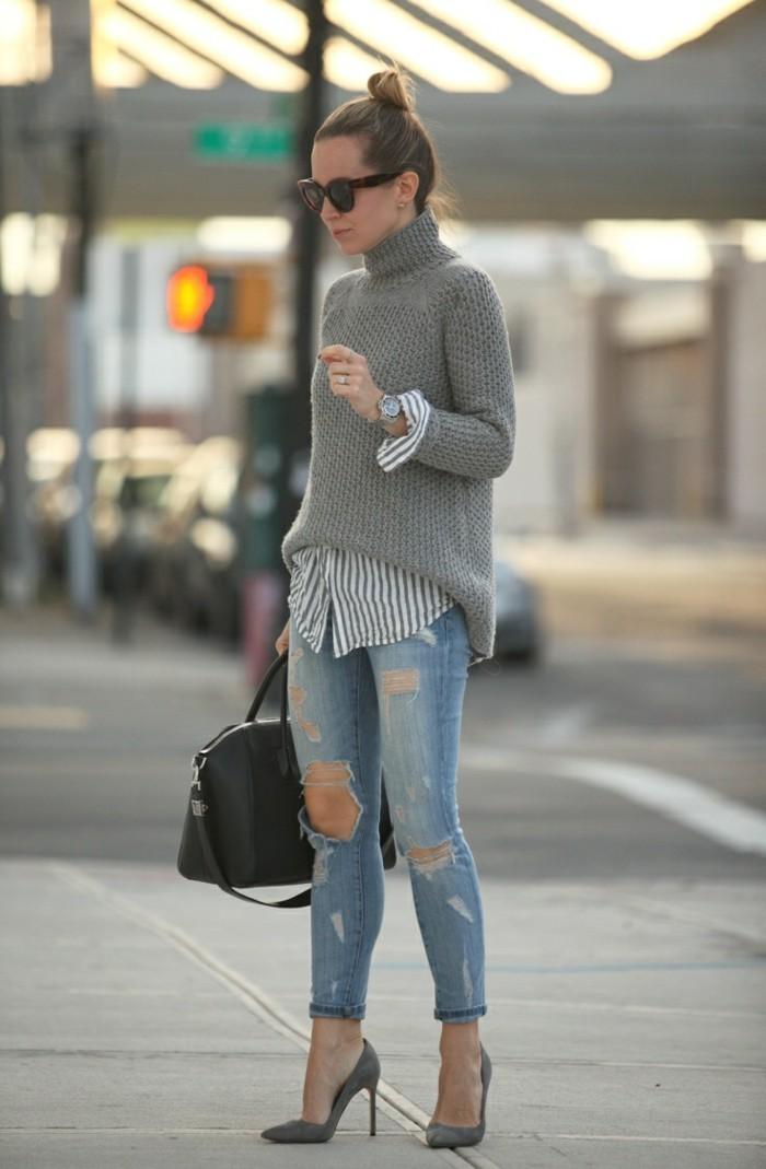 grauer pullover damenmode sportliche mode strassentrends