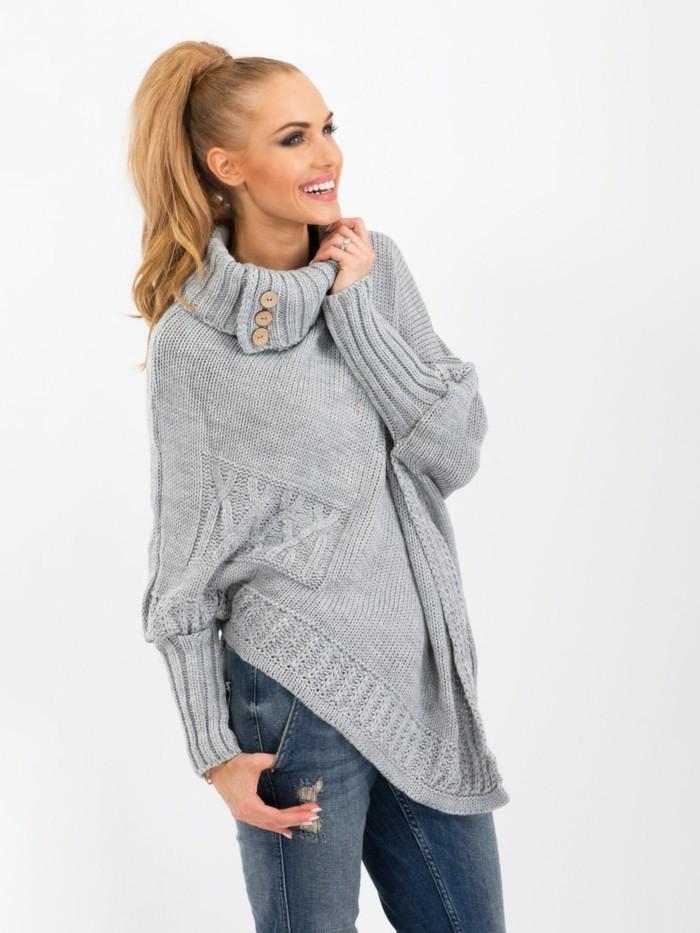 grauer pullover damenmode wintertrends strickpulli wintermode langer pullover