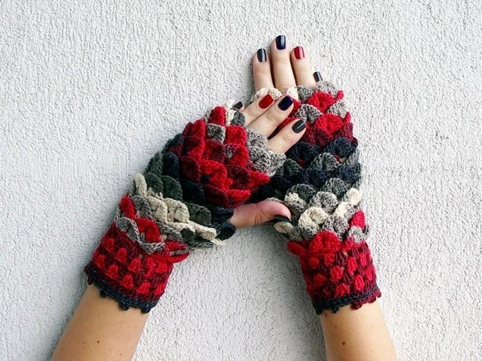 handschuhe haekeln farben kombinieren drachenschuppen