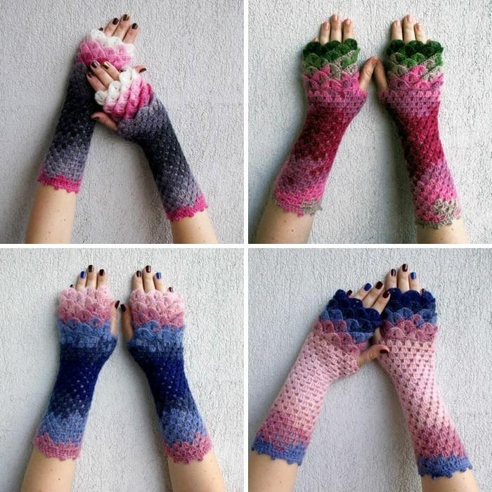handschuhe haekeln frische farben drachenschuppen