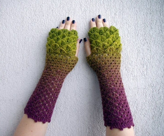 handschuhe haekeln ohne finger drachenschuppen