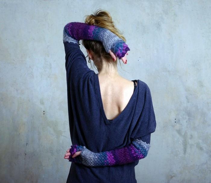 handschuhe haekeln originelle idee drachenschuppen