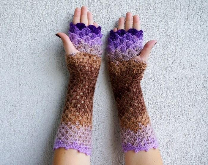 handschuhe haekeln schuppen braun lila kombinieren