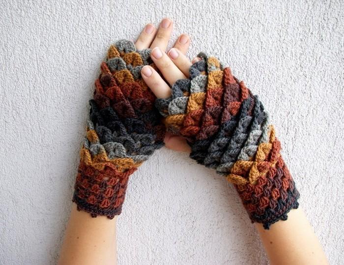 handschuhe haekeln trendig frisch farbig diy ideen