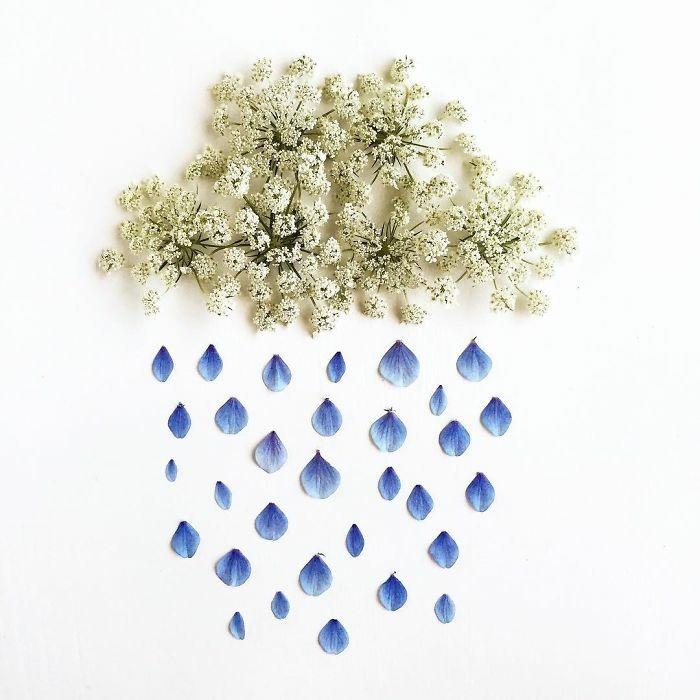 kunstobjekte bridget collins blumen blueten regen