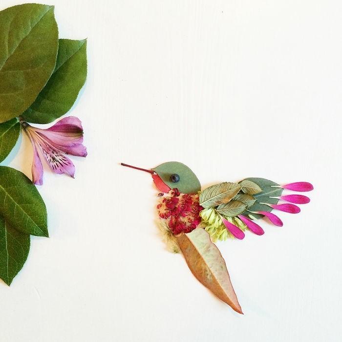 kunstobjekte bridget collins kolibri blumen