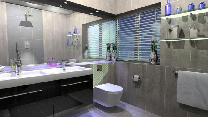 moderne badmoebel badezimmerfliesen spiegeloberflaeche unterschraenke