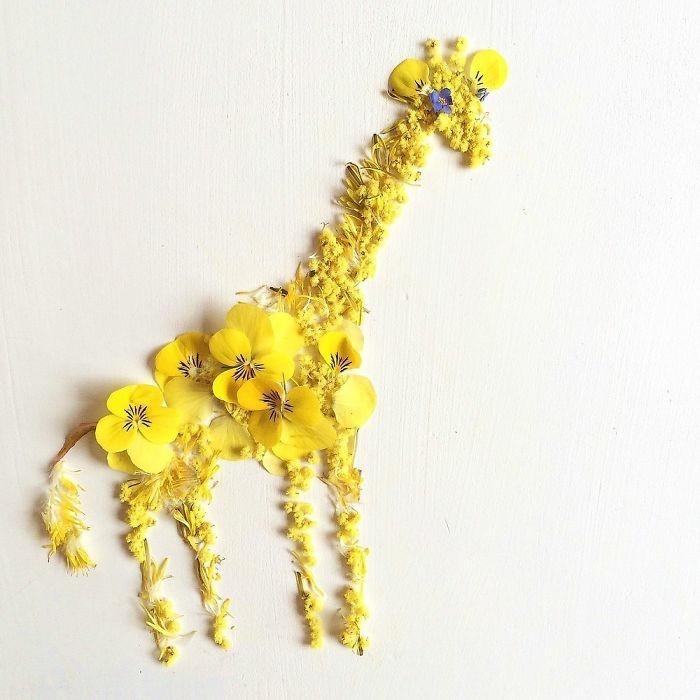 moderne kunstwerke bridget collins giraffe blumen blueten