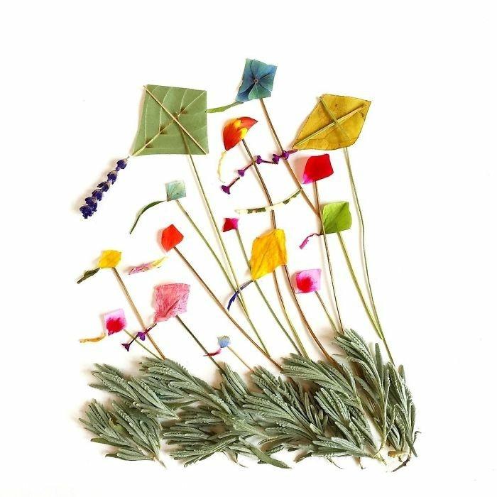 Charmante Kunstobjekte - Kombinationen von Blumen und Blättern als ...