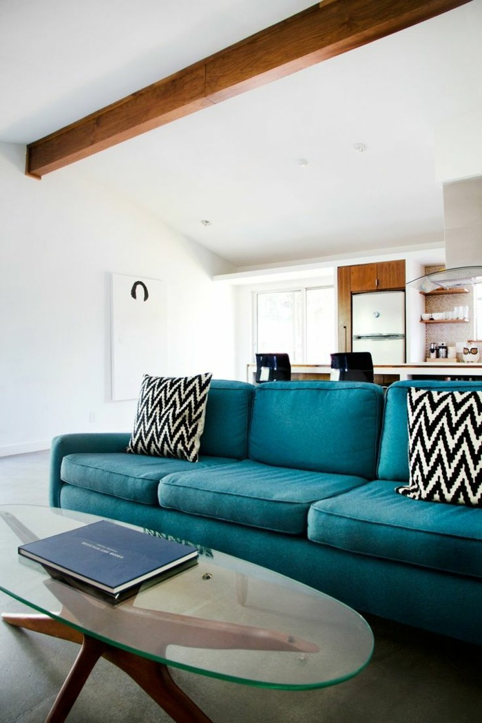 moderne sofas polyacryl blau dekokissen muster weiss schwarz