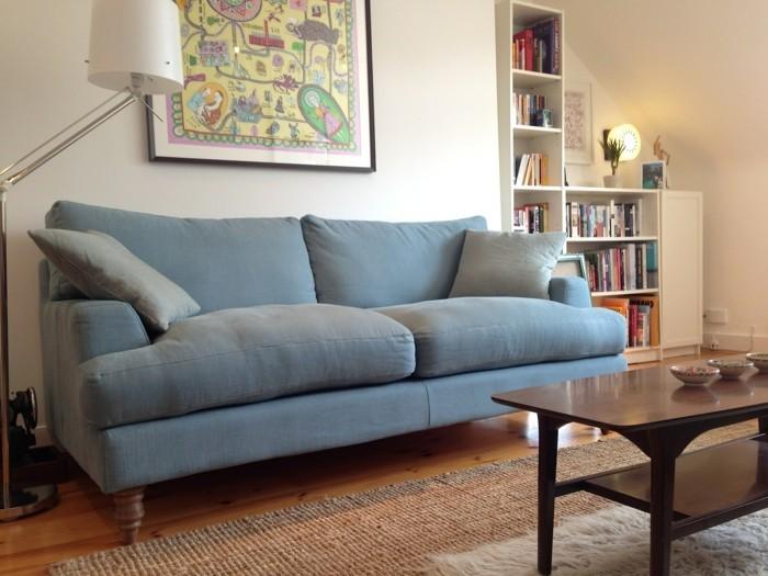 moderne sofas sofastoff viskose hellblau wohnideen wohnzimmer
