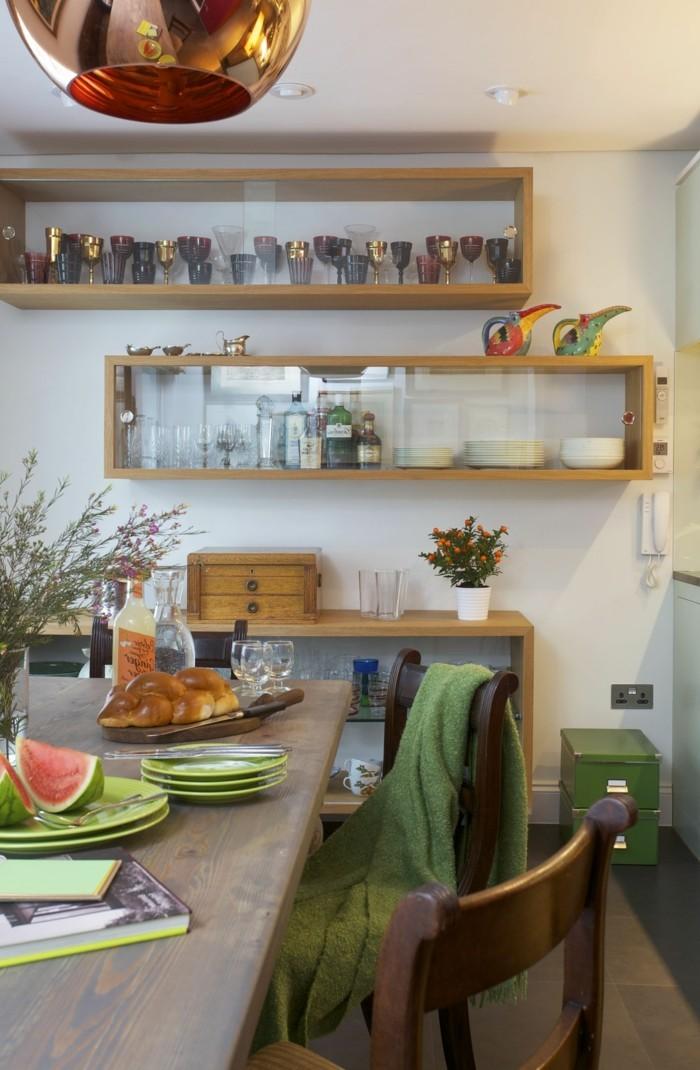 wohnideen küche moderne wandregale essbereich