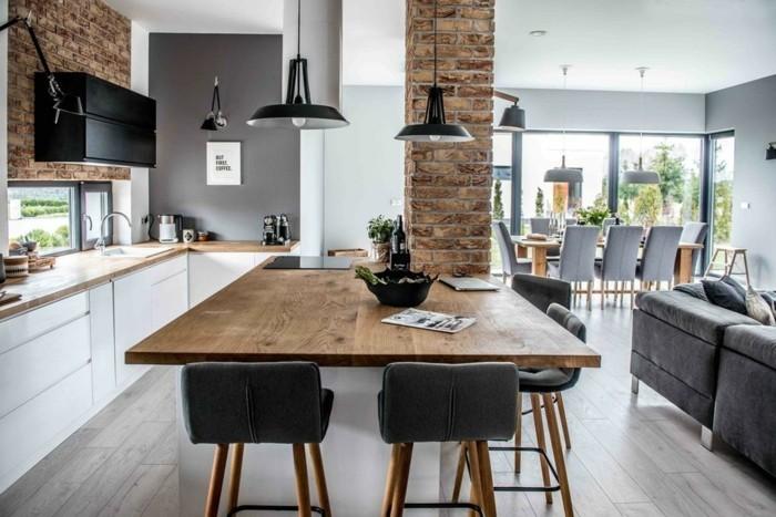 offener wohnplan esstisch wohnzimmer kueche essraum sofa