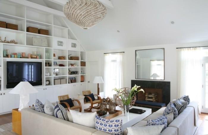 sofa stoff beiges ecksofa kamin stauraum