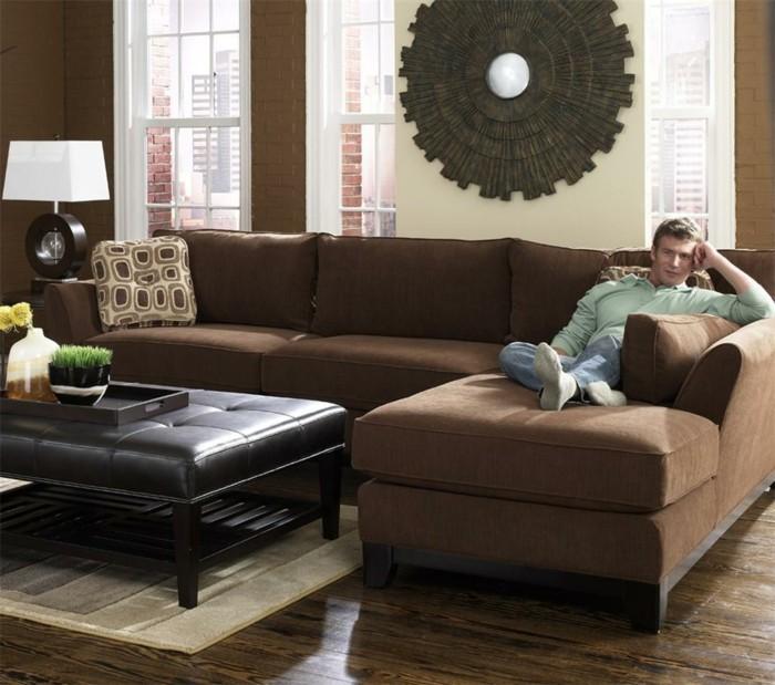 sofa stoff braunes ecksofa schoener bodenbelag