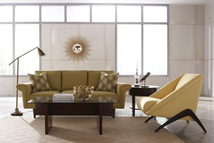 sofa stoff modernes sofa gelb stehlampe deko