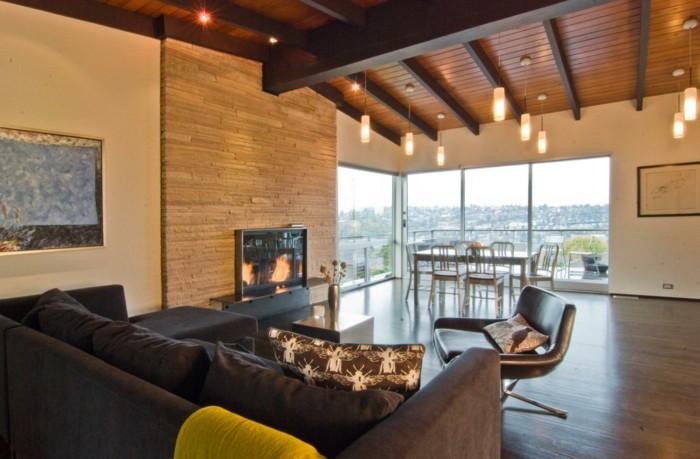sofa stoff modernes sofa kamin steinwand