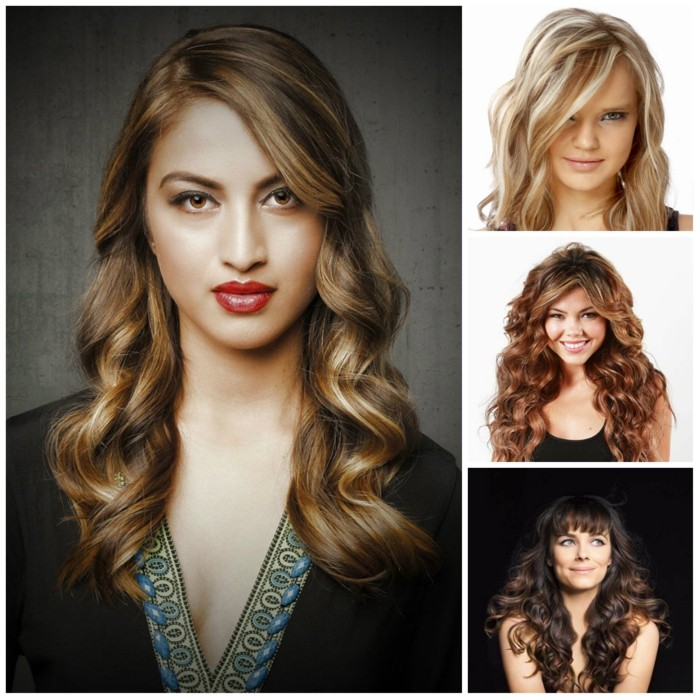 trendfrisuren damen 2017 balayage caramel coloration wellen