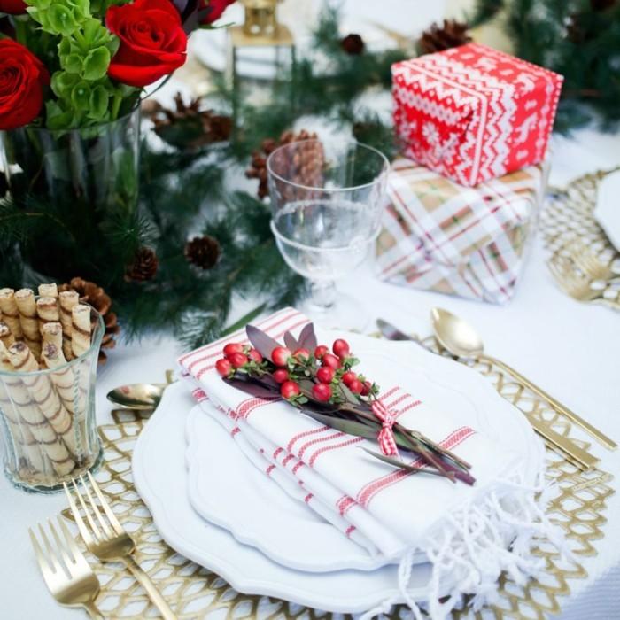 weihnachtliche tischdeko klassisch teller pracht