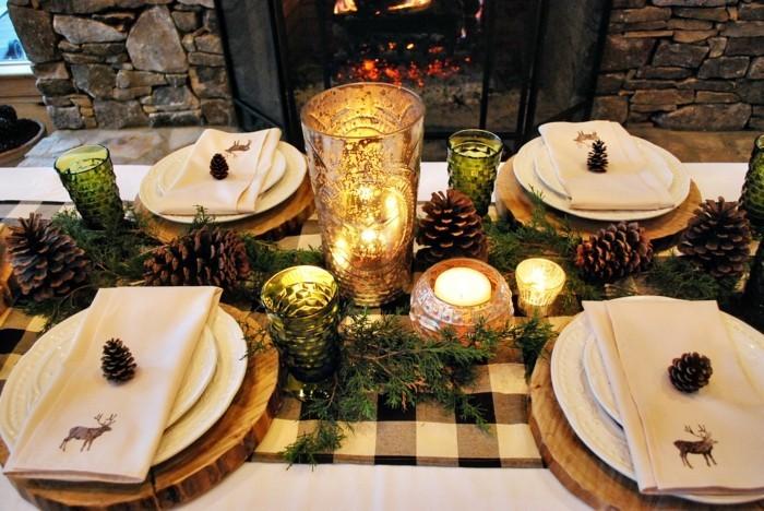 weihnachtliche tischdeko klassisch teller schwarz auftischen