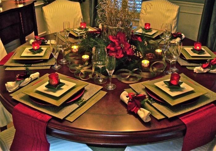 weihnachtliche tischdeko klassisch teller schwarz rund