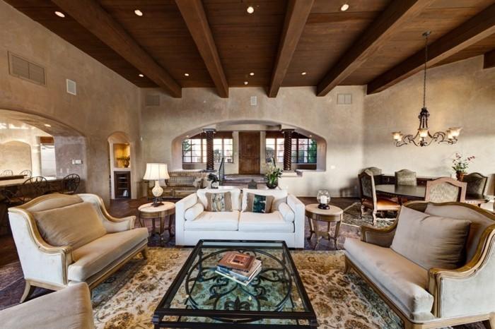 wohnideen wohnzimmer spanisch kolonial teppichmuster bereiche