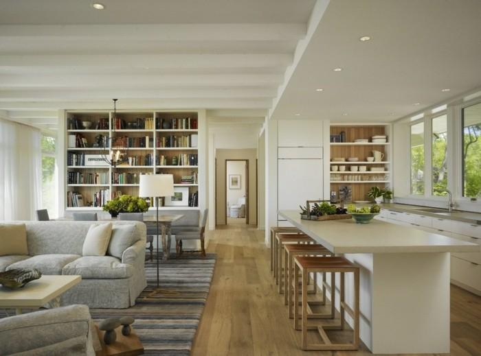 wohnungseinrichtung ideen kueche essraum wohnzimmer offener wohnplan