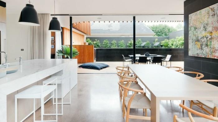 wohnungseinrichtung ideen kueche esszimmer terrasse offener wohnplan