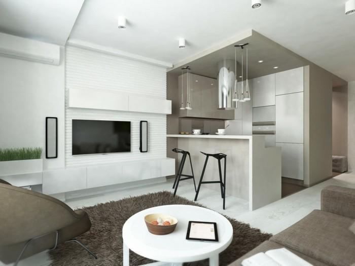 wohnungseinrichtung ideen kueche wohnbereich runder couchtisch hochflorteppich