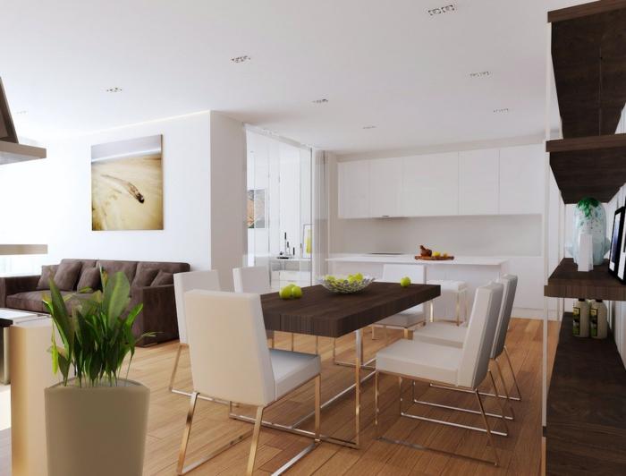 wohnungseinrichtung ideen offene kueche esstisch stuehle sofa wohnbereich