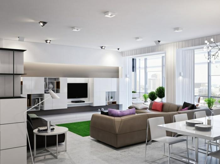 wohnungseinrichtung ideen kueche wohnbereich ledersofa weißer esstisch