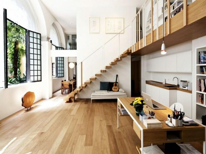 wohnungseinrichtung ideen offener wohnplan kueche essraum arbeitsplatz buecherregale treppe