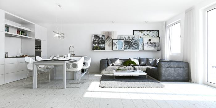wohnungseinrichtung ideen wohnzimmer kueche esstisch offener wohnplan