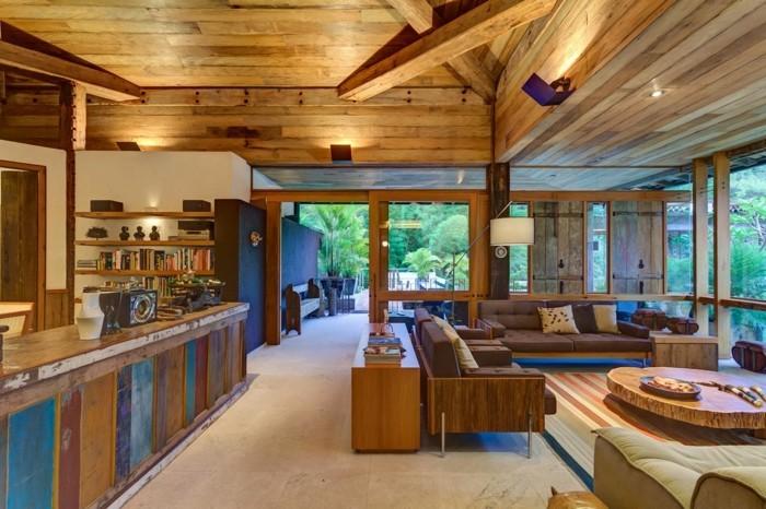 wohnungseinrichtung offener wohnplan wohnzimmer bartheke buecherregale