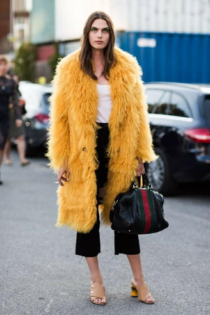 damen pelzmantel gelb winter mode