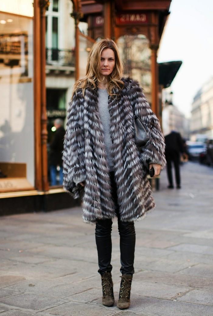 damen pelzmantel trendy outfit