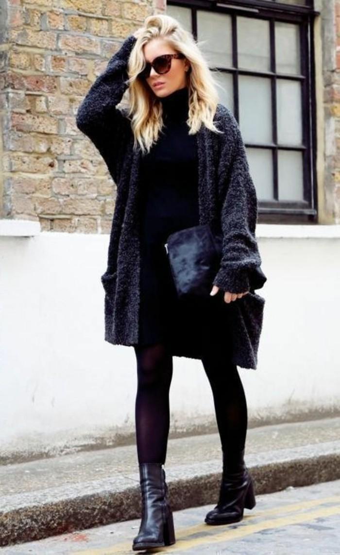 damenweste outfit lang schwarz trendig