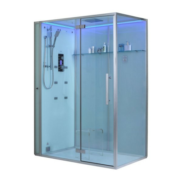 dampfdusche eago weiße duschkabinne silber