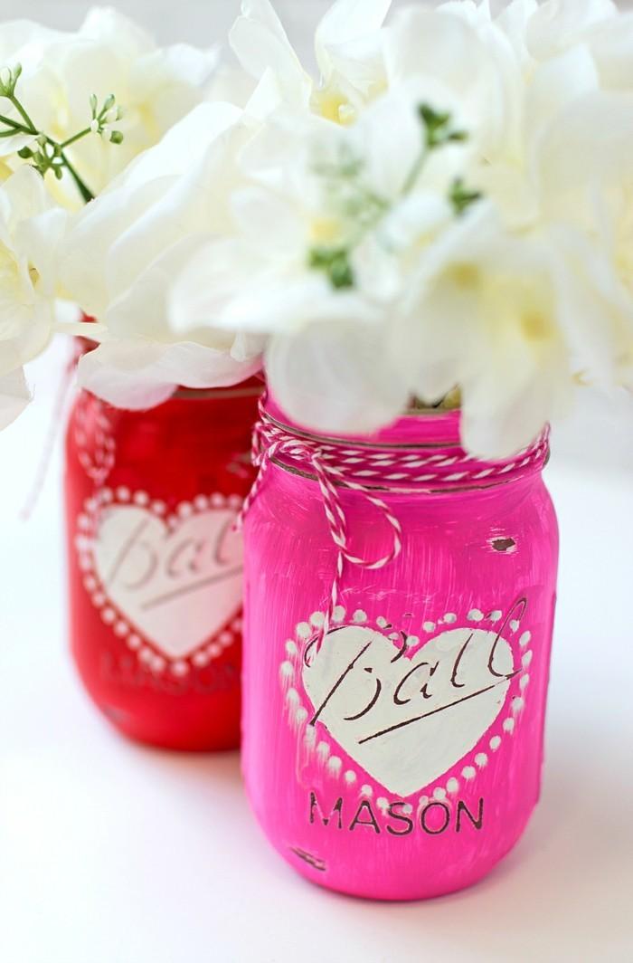 diy valentinstag einmachgläser herzen blumen