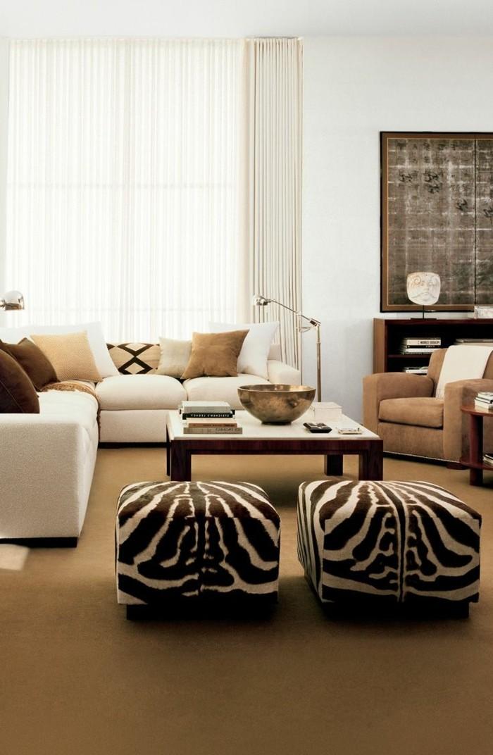 einrichtungsideen wohnzimmer einrichten ideen zebra muster hocker