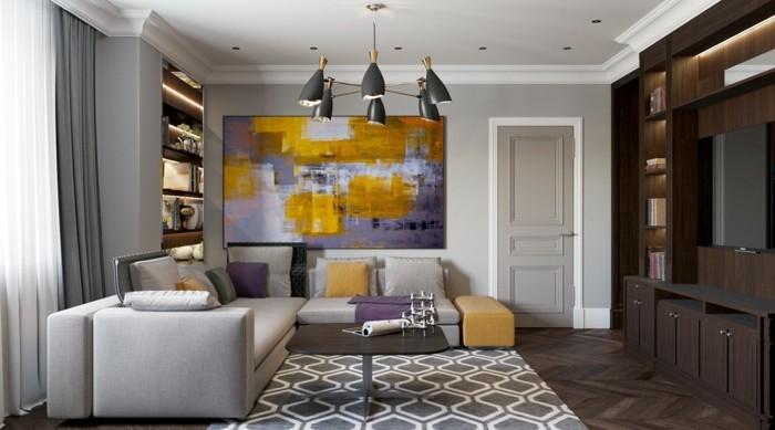Moderne Einrichtungsideen Wohnzimmer Lila Akzente Graues Ecksofa Geometrischer Teppich