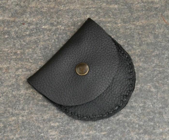 geldbeutel nähen münzen leder schwarz