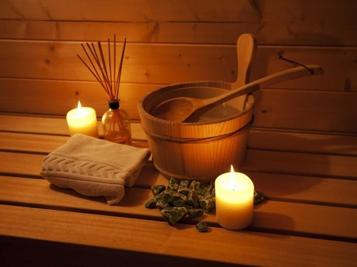 heimsauna saunieren saunakübel handtuch aromastäbchen wellness spa