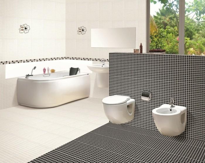 hochwertige inneneinrichtung badezimmer ideen badezimmerfliesen muster bereiche abtrennen