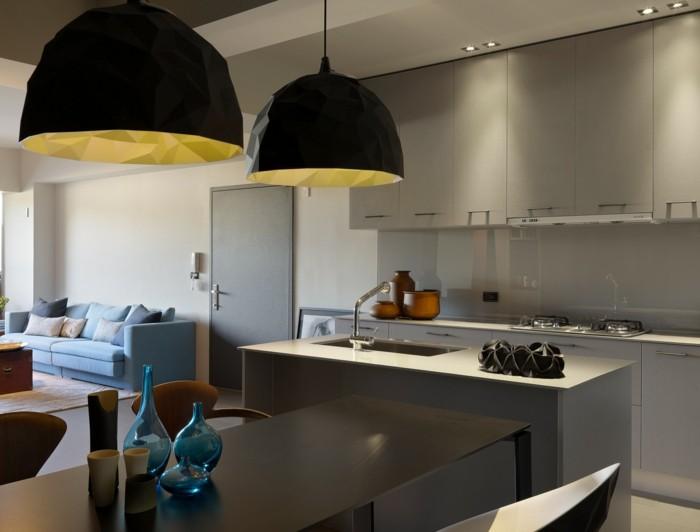 hochwertige inneneinrichtung offene küche einrichten holztexturen dekoideen