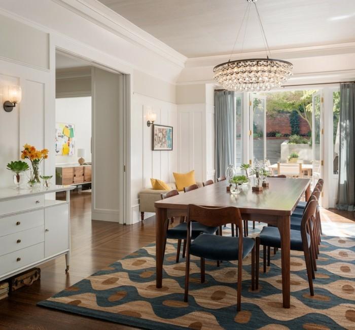 hochwertige inneneinrichtung schöner teppich essbereich
