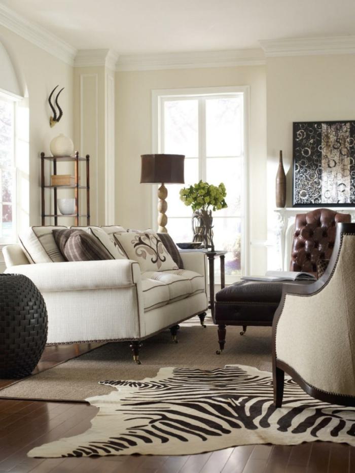 hochwertige inneneinrichtung teppichmuster zebra elegante wohnideen