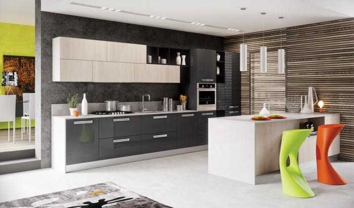 hochwertige inneneinrichtung wohnideen küche farbige hocker